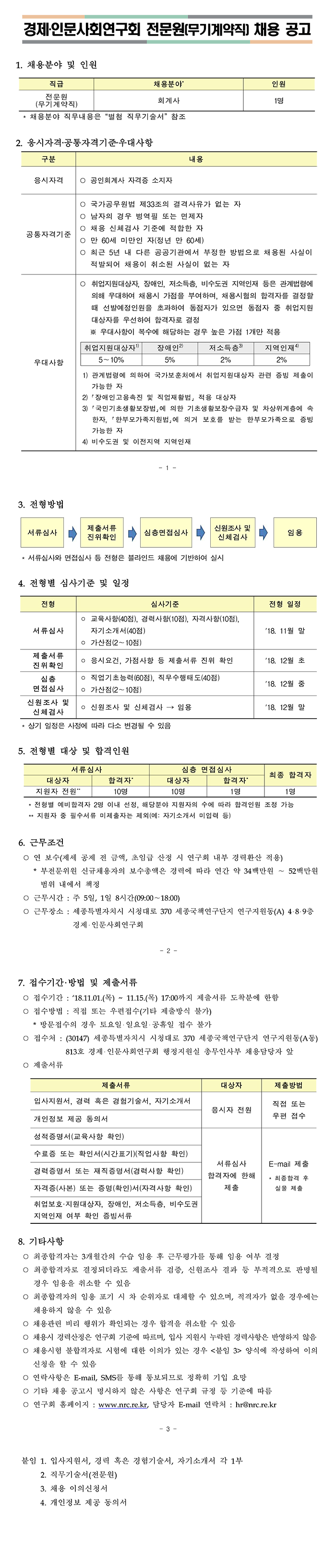 [경제·인문사회연구회] 전문원(무기계약직) 채용 공고